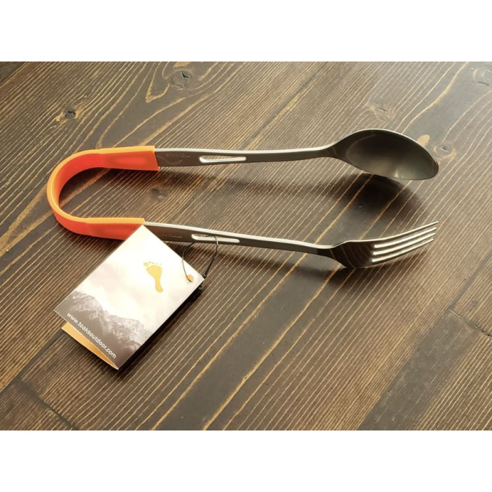 Titanium Fork and Spoon Tongs